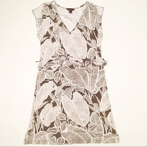 Tommy Bahama brown white floral midi dress small
